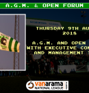 Announcement | A.G.M. & Open Forum to be held on Thursday 9th August